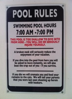 Pool Rules – too shallow