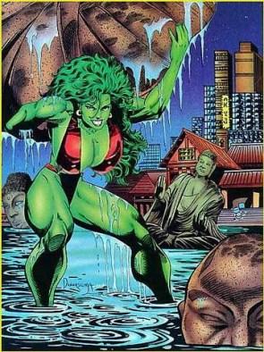 She Hulk Lifting a wet rock