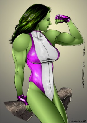She Hulk admires her arm