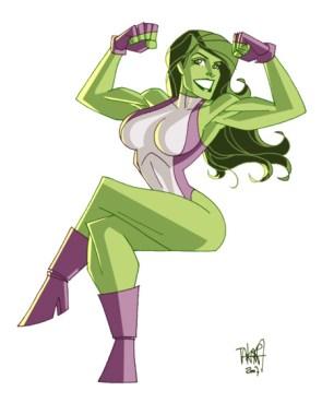 She Hulk flexin her arms