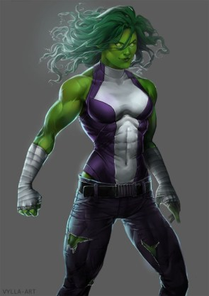 She Hulk has glowing eyes