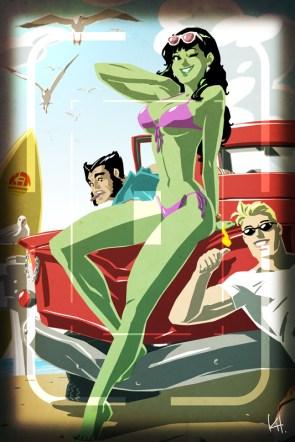 She Hulk in a bikini on wolverine's car