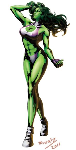She Hulk in a bikini taking a walk