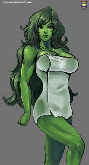 She Hulk in a towel