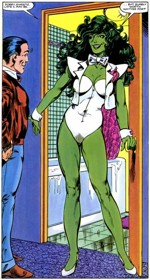 She Hulk in a white swimsuit and bow tie