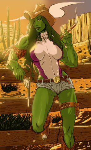 She Hulk is a cowgirl