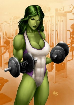 She Hulk lifting dumbells