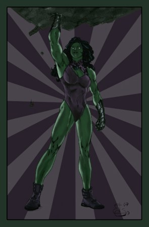 She Hulk lifts a wall