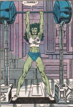She Hulk lifts on three