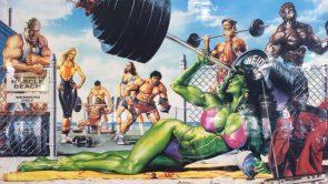 She Hulk on muscle beach