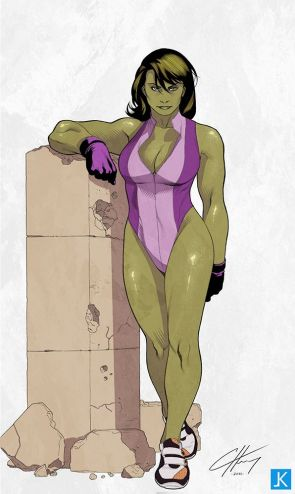 She Hulk rests her arm on a pillar