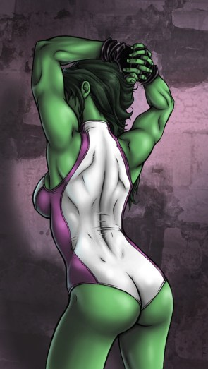 She Hulk stretching