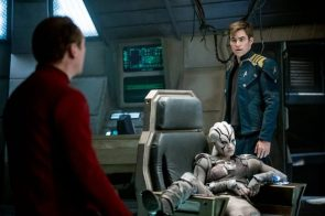 Star Trek Beyond Jaylah on the bridge with Kirk and Scotty