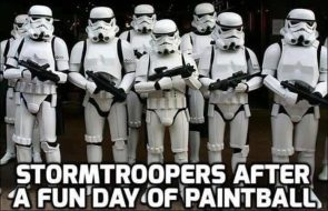 Stormtroopers after a fun day of paintball