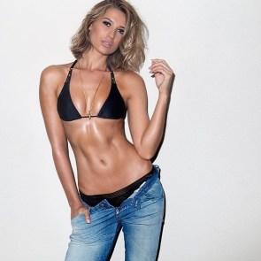 blonde in bikini and jeans
