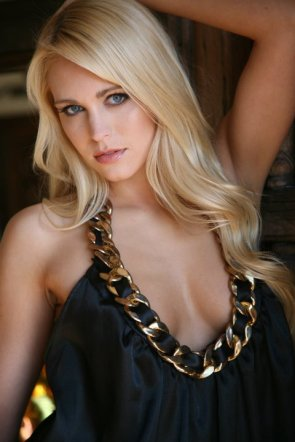 blonde in black and golden