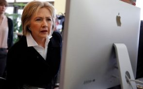hillary clinton using a computer