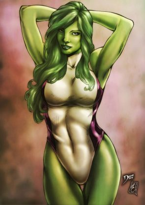 she hulk has her arms up