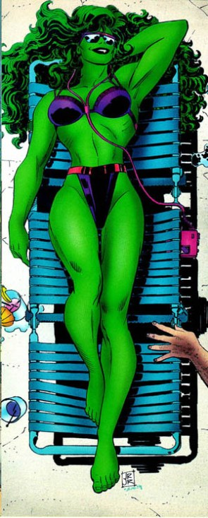 she hulk in bikini on beach chair