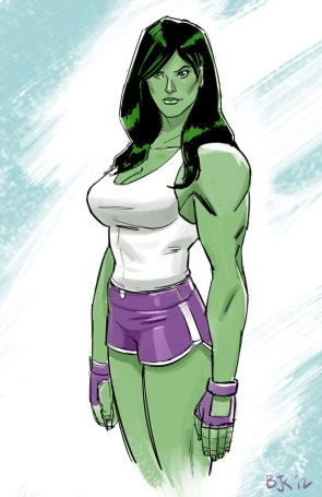 she hulk in white cotton top