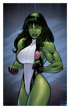 she hulk is flexing with a pose