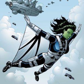 she hulk jumping from SHIELD helicarrioer