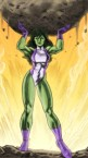 she hulk lifting a boulder