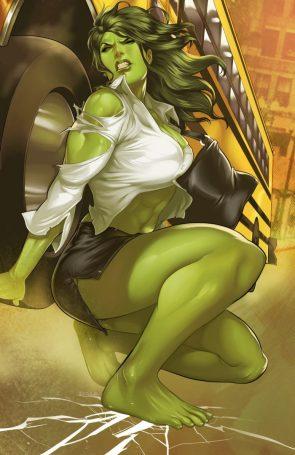 she hulk lifting a school bus