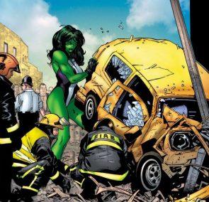 she hulk lifting a yellow car