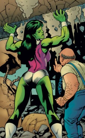 she hulk lifting by a man in suspenders