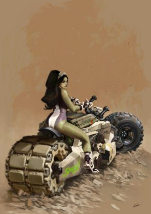 she hulk on a tracked duel tire motorcycle
