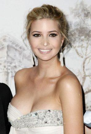 Invanka Trump in a white diamond dress