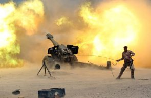 Iraq's security forces fires artillery while not wearing hearing protection