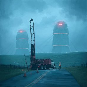Roadwork by Simon Stalenhag