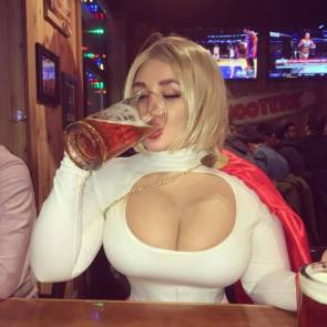 powergirl havinga drink