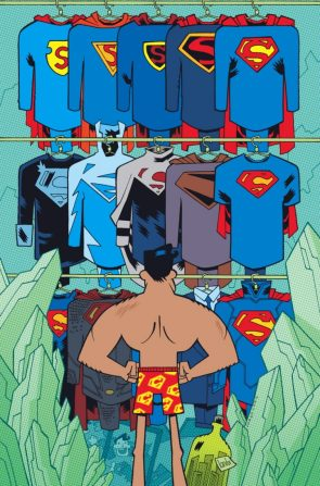 superman figuring out his clothing options