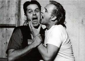 Jonathan Demme and Anthony Hopkins on the set of The Silence of the Lambs