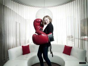Chloe in oversized punching gloves