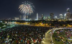 Fireworks and crowds