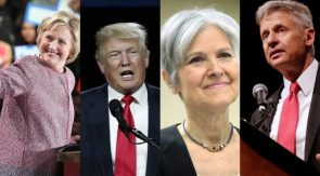 Hilary Clinton, Donald Trump, Jill Stein and Gary Johnson