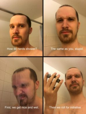 How do nerds shower