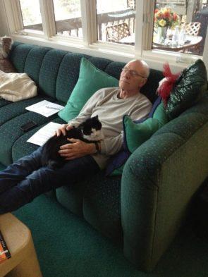 Patrick Stewart with his cat Bella