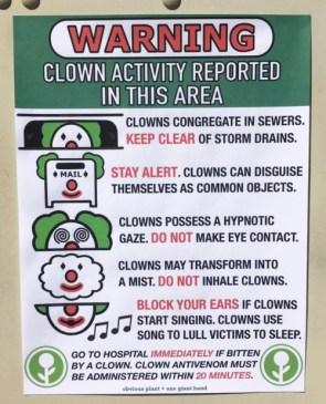 WARNING – Clown Activity Reported in this area