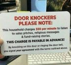 door knockers please note