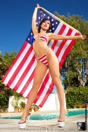 flag bikini girl waving the American Flag