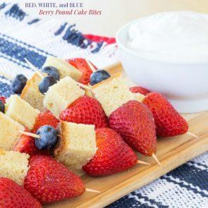 red whiteand blu berry pound cake bites