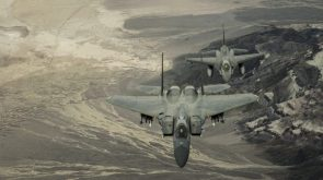 two fighter jets over mountains