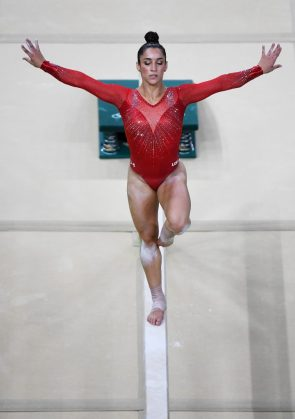 Aly Raisman on the balance beam