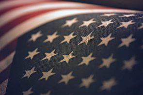 American Flag within focus