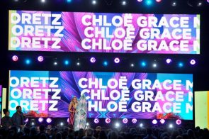 Chloe with her name in lights